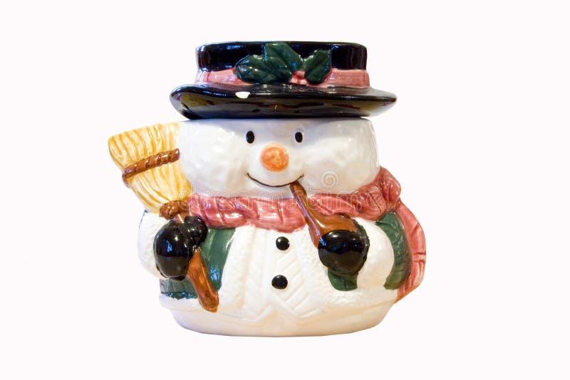 Muñeco de nieve con la escoba foto de archivo libre de regalías