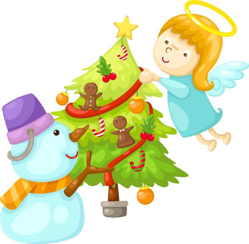 Muñeco de nieve con la Navidad del árbol del ángel stock de ilustración