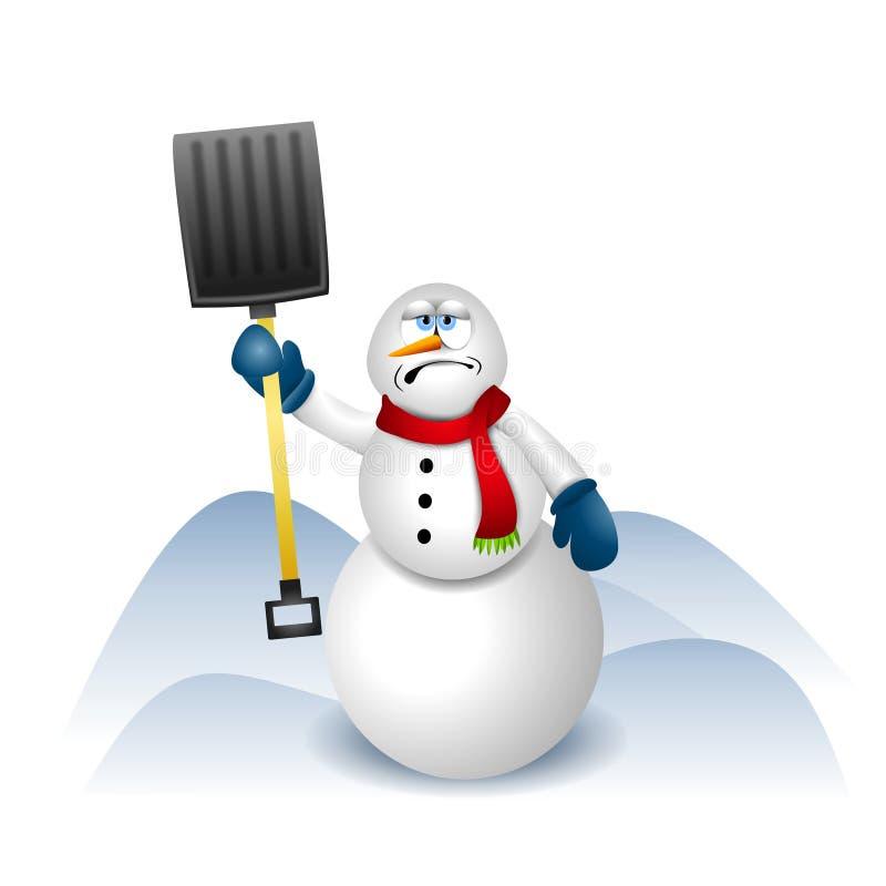 Muñeco de nieve con la pala de la nieve stock de ilustración