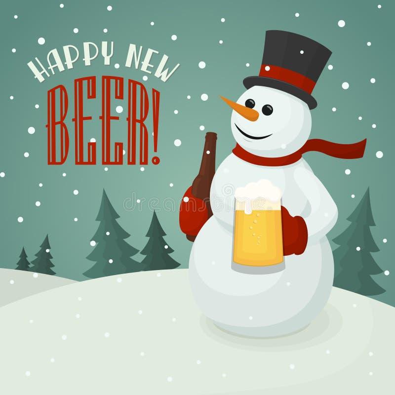 Muñeco de nieve con la taza de cerveza stock de ilustración
