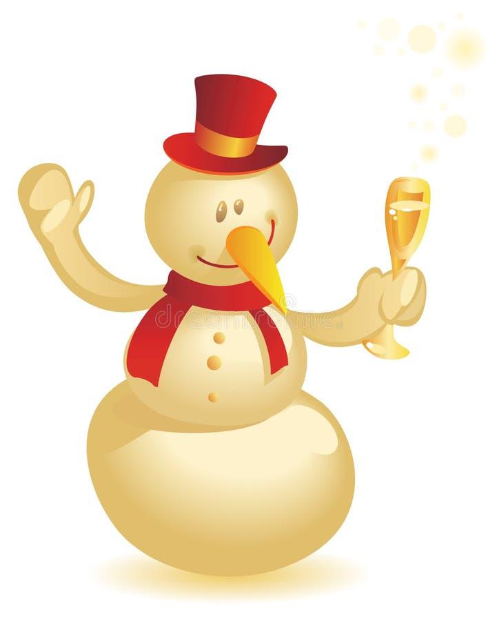 Muñeco de nieve con oro de la copa stock de ilustración