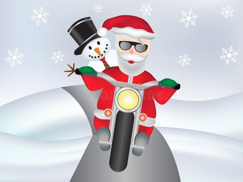 Muñeco de nieve con Santa Claus en la moto fresca con los copos de nieve stock de ilustración