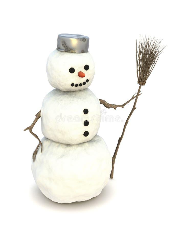 Muñeco de nieve con una escoba stock de ilustración