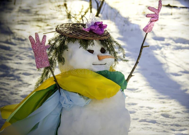 Muñeco de nieve de Churchlady foto de archivo