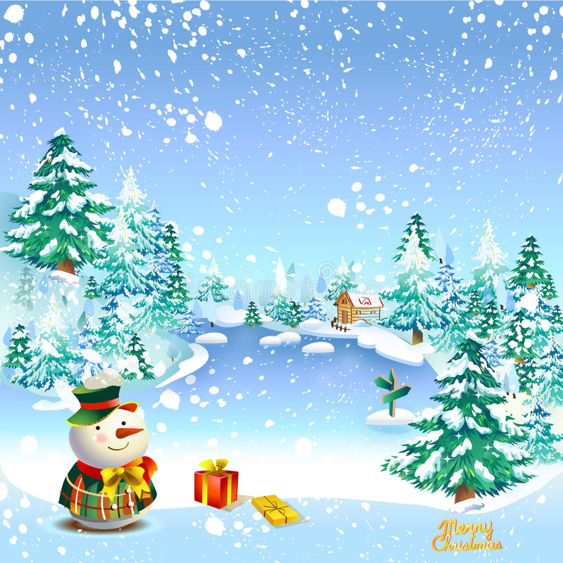 Muñeco de nieve de la Feliz Navidad ilustración del vector