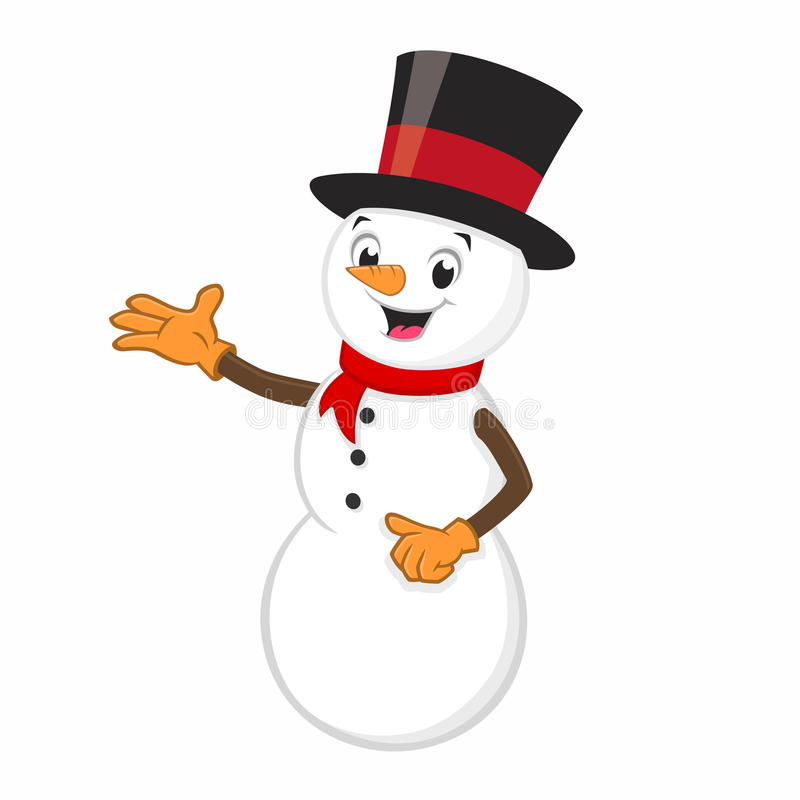 Muñeco de nieve de la historieta ilustración del vector