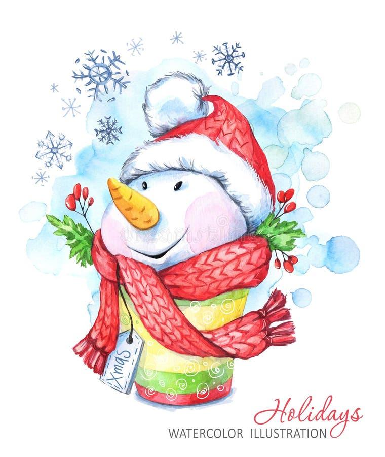 Muñeco de nieve de la historieta de la acuarela en el sombrero y la bufanda Ejemplo de las vacaciones de invierno ilustración del vector