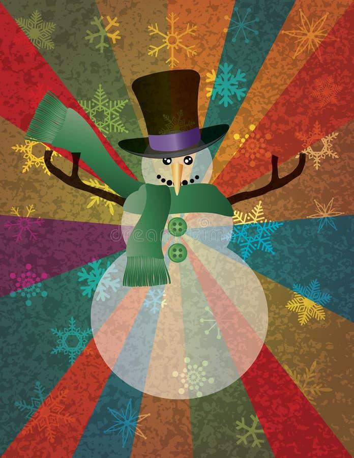 Muñeco de nieve de la Navidad con los copos de nieve y los rayos I ilustración del vector