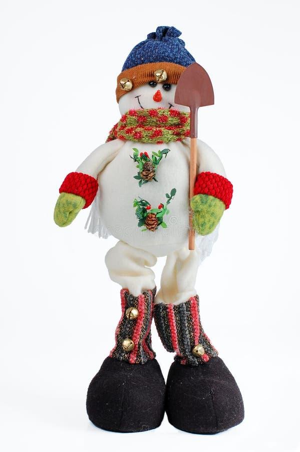 Muñeco de nieve de la Navidad en el fondo blanco fotografía de archivo