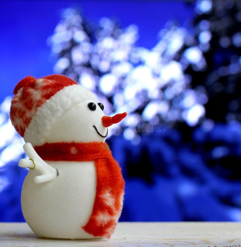 Muñeco de nieve de la Navidad en fondo del bokeh fotos de archivo libres de regalías