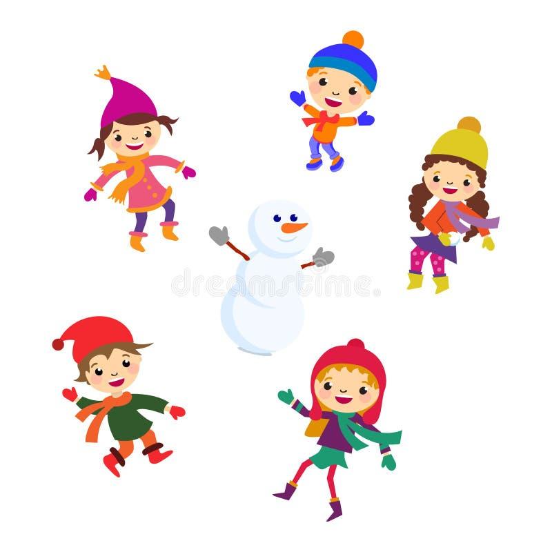 Muñeco de nieve de la niña del invierno, nieve del muchacho de la Navidad ilustración del vector