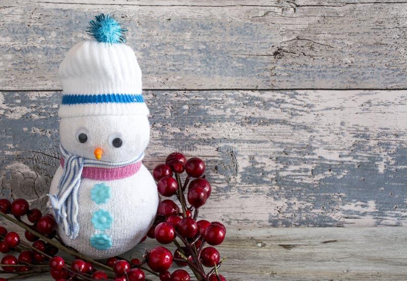 Muñeco de nieve de Plushie con un palillo del arándano fotos de archivo libres de regalías