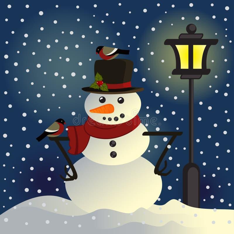 Muñeco de nieve debajo de la linterna libre illustration
