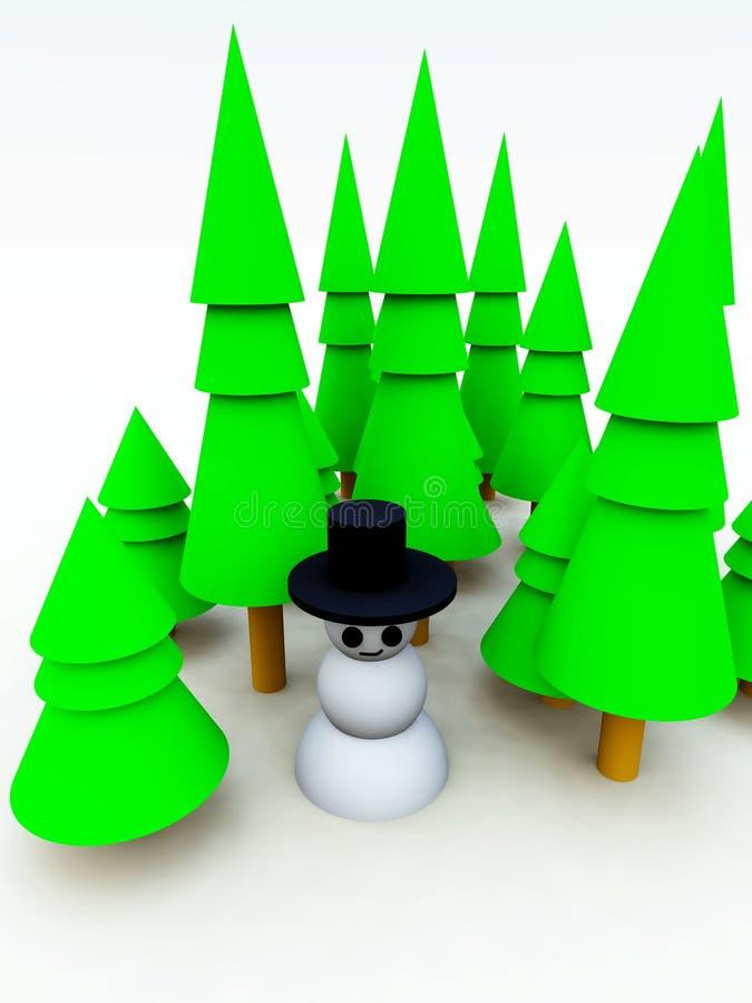 Muñeco de nieve del bosque del árbol de navidad stock de ilustración