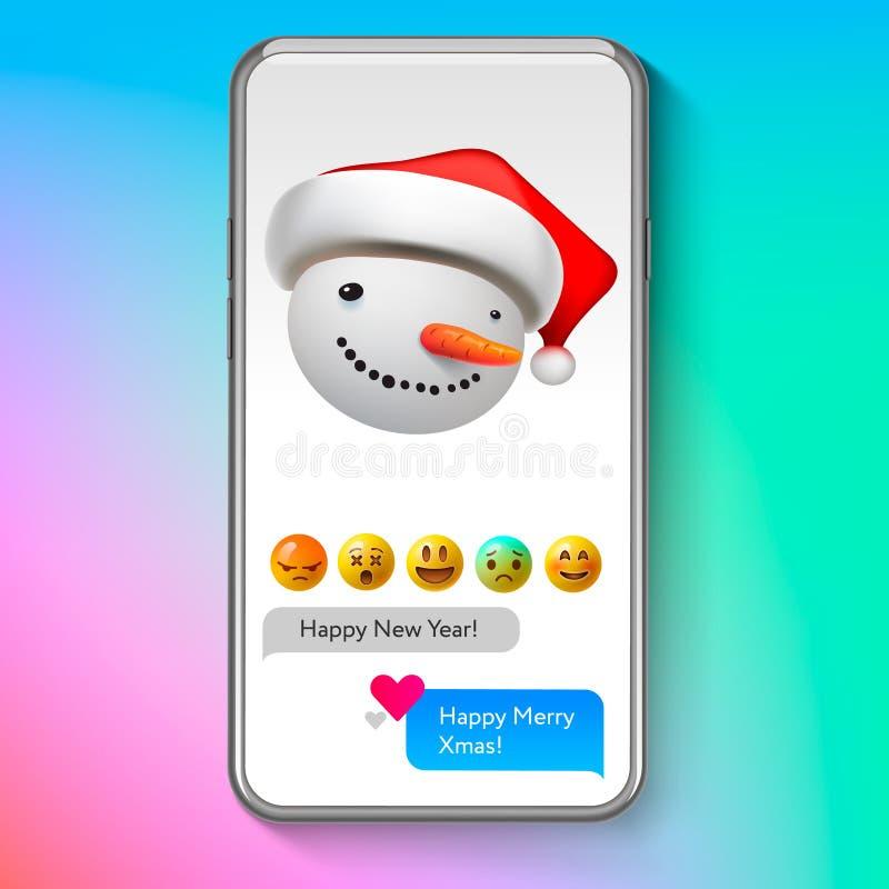 Muñeco de nieve del emoji de la Navidad en el sombrero del ` s de Papá Noel, emoticon de la cara de la sonrisa del día de fiesta, libre illustration