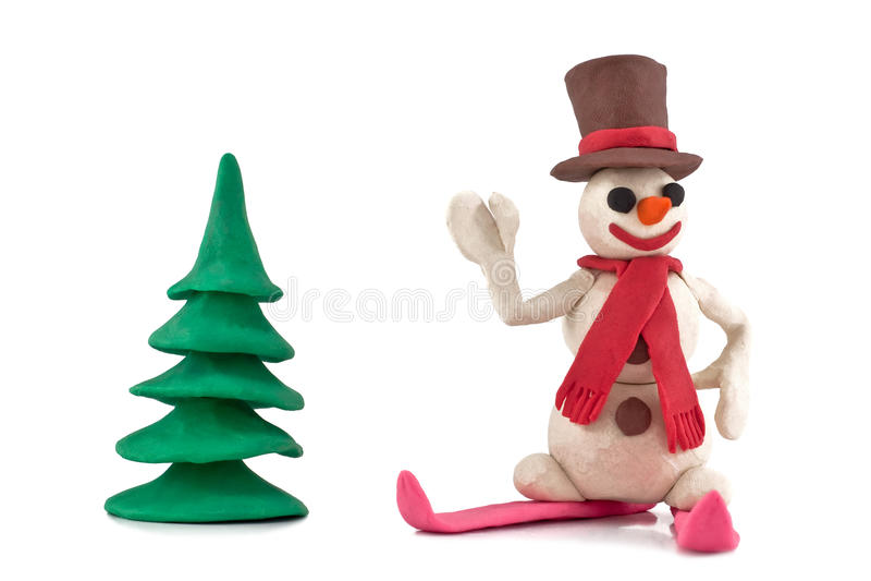 Muñeco de nieve del esquí del Plasticine fotos de archivo