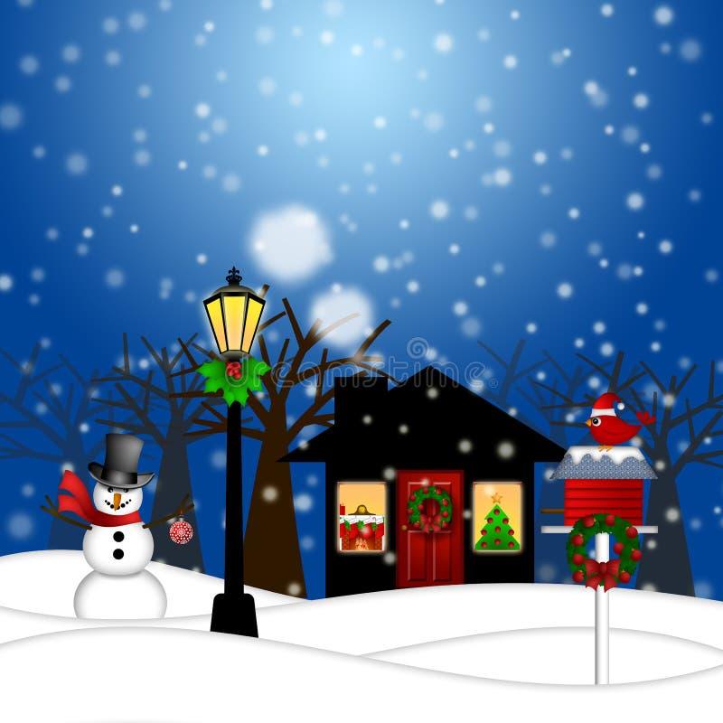 Muñeco de nieve del poste de la lámpara de la casa y la Navidad del Birdhouse stock de ilustración