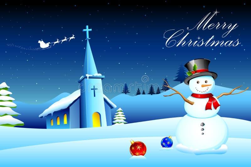 Muñeco de nieve delante de la iglesia stock de ilustración