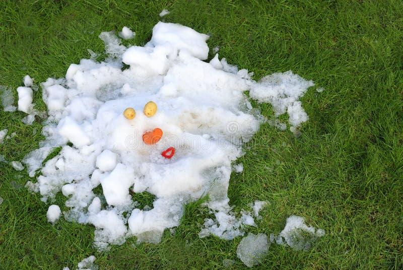 Muñeco de nieve derretido imagen de archivo