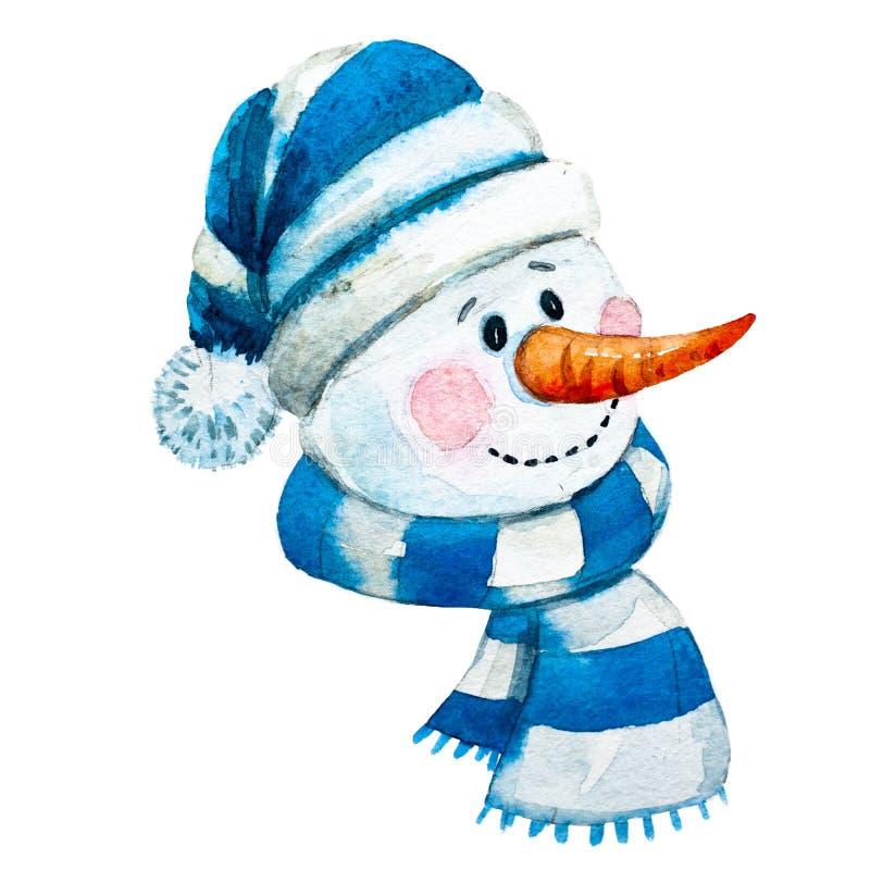 Muñeco de nieve dibujado mano de la trama de la acuarela ilustración del vector