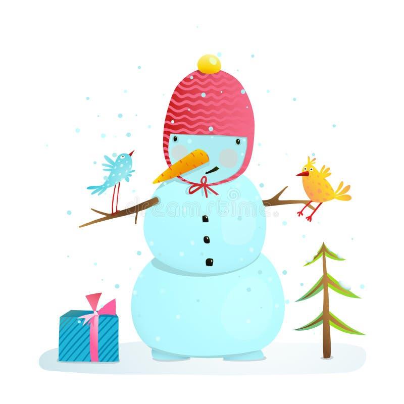 Muñeco de nieve divertido con los pájaros presentes y el pequeño árbol ilustración del vector