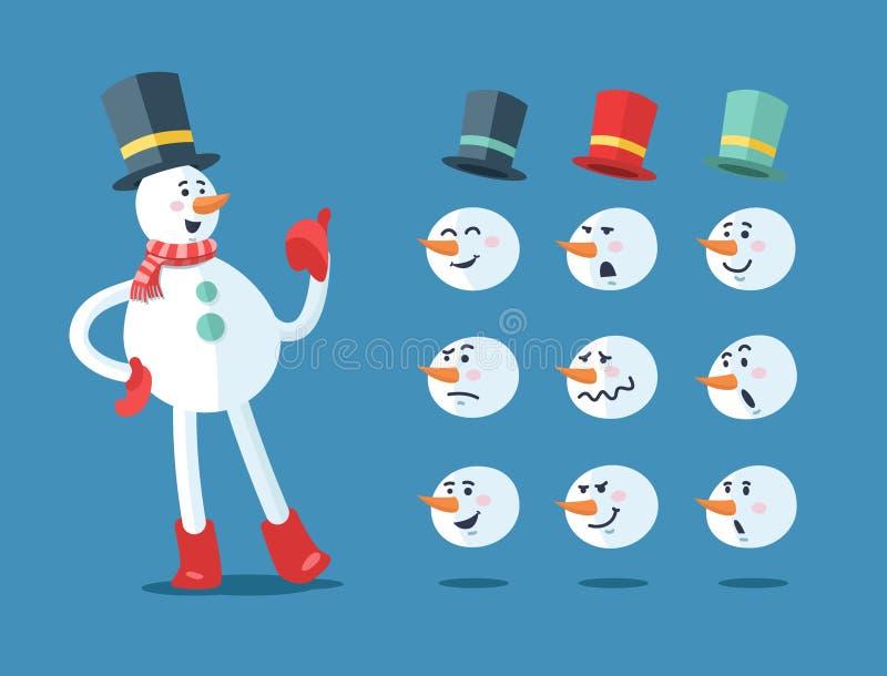 Muñeco de nieve divertido Conjunto del vector de la historieta libre illustration