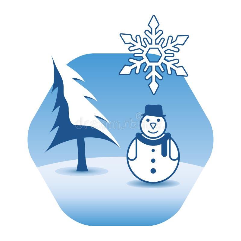 Muñeco de nieve divertido en sombrero y bufanda que lleva Paisaje del invierno con el árbol de pino stock de ilustración