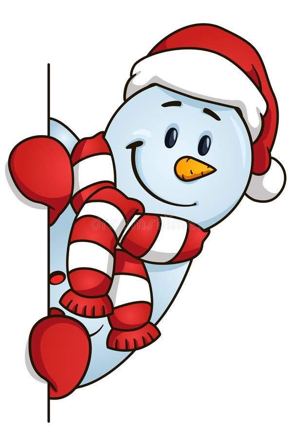 Muñeco de nieve divertido que oculta detrás del espacio en blanco Ilustración del vector Tema de la Navidad stock de ilustración