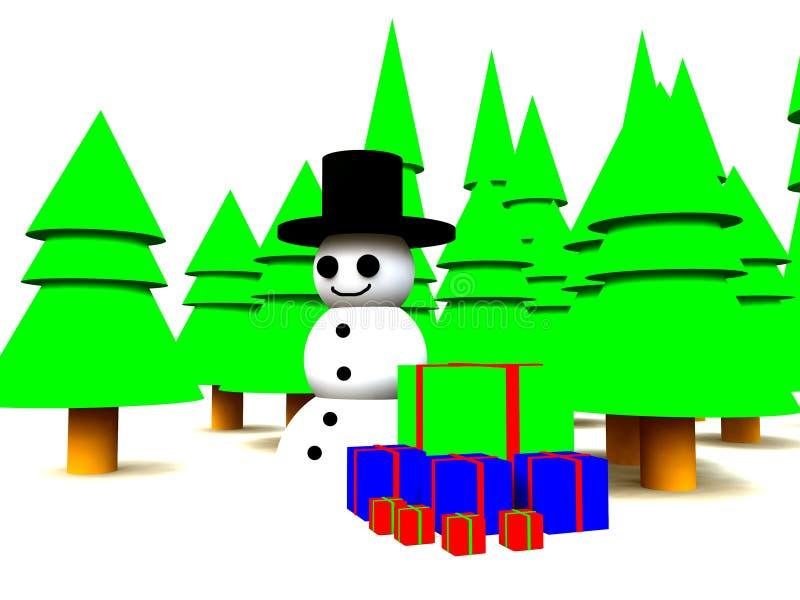 Muñeco de nieve en bosque stock de ilustración