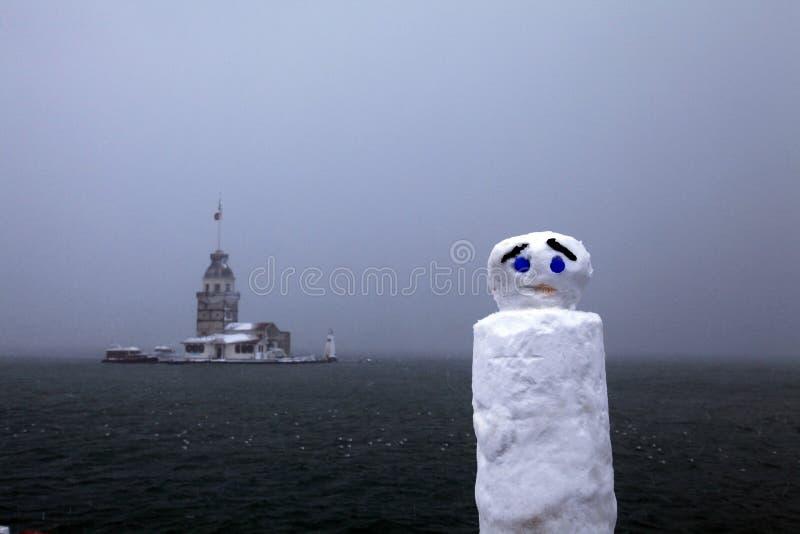 Muñeco de nieve en el bosphorus Estambul fotos de archivo libres de regalías