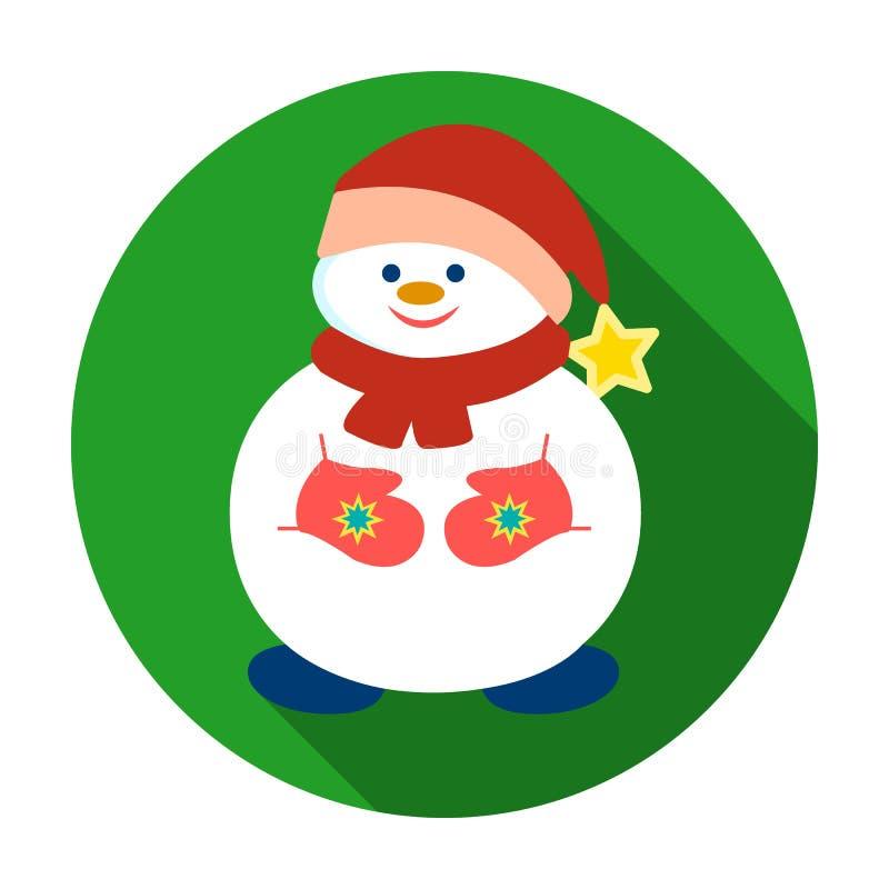 Muñeco de nieve en el icono del casquillo de la Navidad en estilo plano aislado en el fondo blanco Ejemplo del vector de la acció stock de ilustración