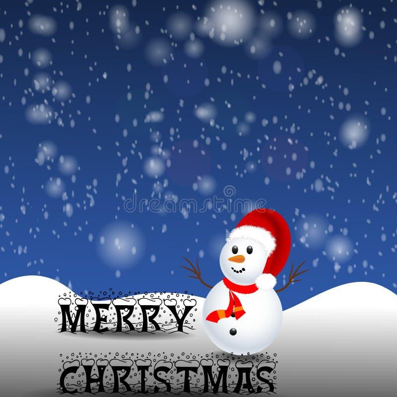 Muñeco de nieve en fondo de la noche de la Navidad imagenes de archivo