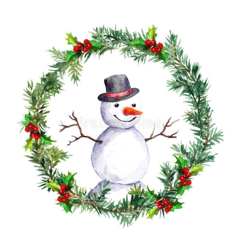 Muñeco de nieve en guirnalda de la Navidad con las ramas de árbol de abeto watercolor ilustración del vector