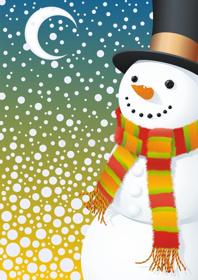 Muñeco de nieve en hight que nieva ilustración del vector