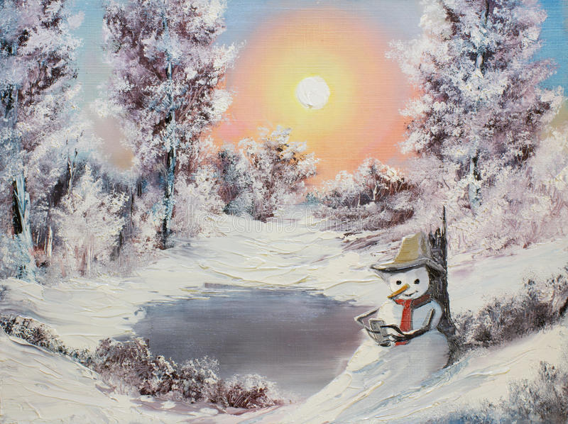 Muñeco de nieve en línea stock de ilustración