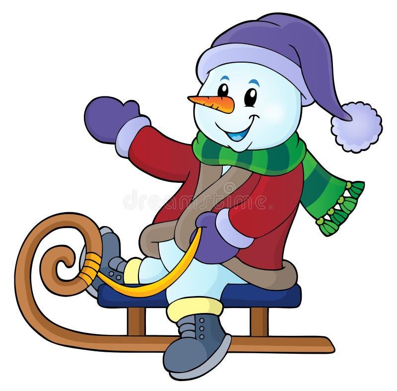 Muñeco de nieve en la imagen 1 del tema del trineo libre illustration
