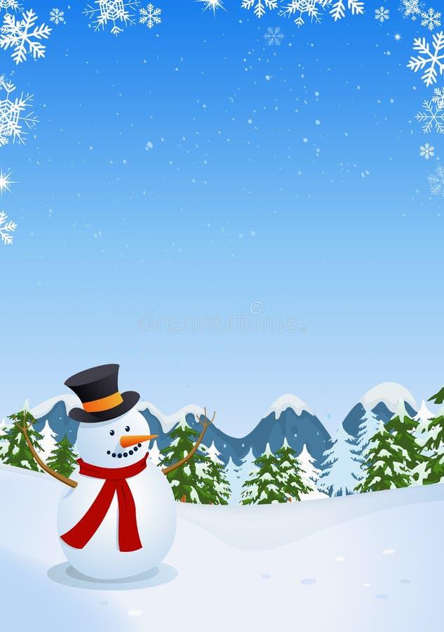 Muñeco de nieve en paisaje del invierno ilustración del vector