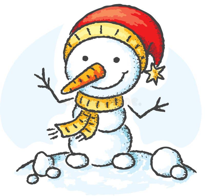 Muñeco de nieve en un sombrero de Papá Noel stock de ilustración