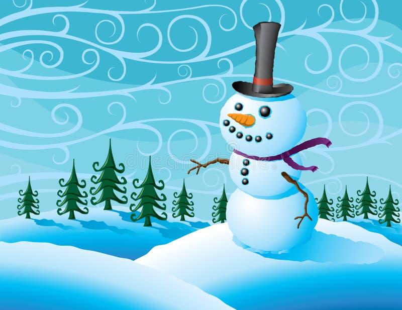 Muñeco de nieve en una tormenta del invierno libre illustration