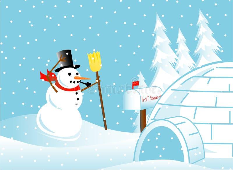Muñeco de nieve en una ventisca stock de ilustración