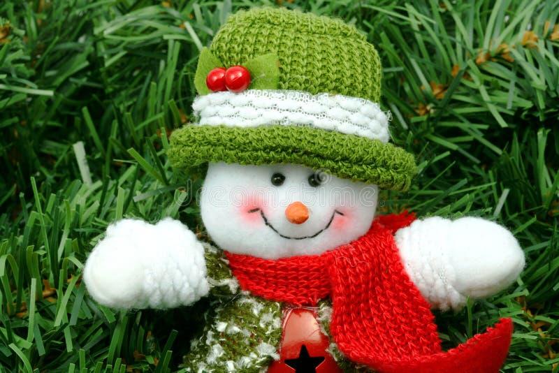 Muñeco de nieve en verde foto de archivo