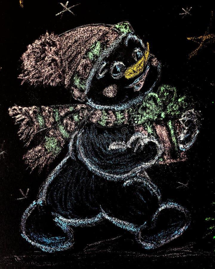 Muñeco de nieve exhausto con un árbol de navidad en fondo negro handmade tiza coloreada de dibujo foto de archivo