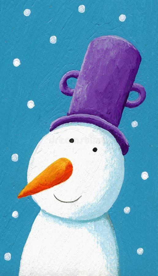 Muñeco de nieve feliz con el crisol púrpura stock de ilustración