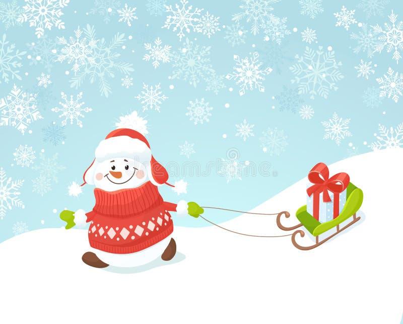 Muñeco de nieve feliz con el trineo stock de ilustración