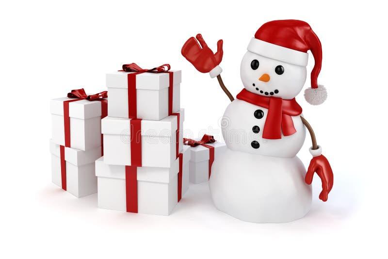 muñeco de nieve feliz 3d con el sombrero de Papá Noel y guantes y presentes rojos stock de ilustración