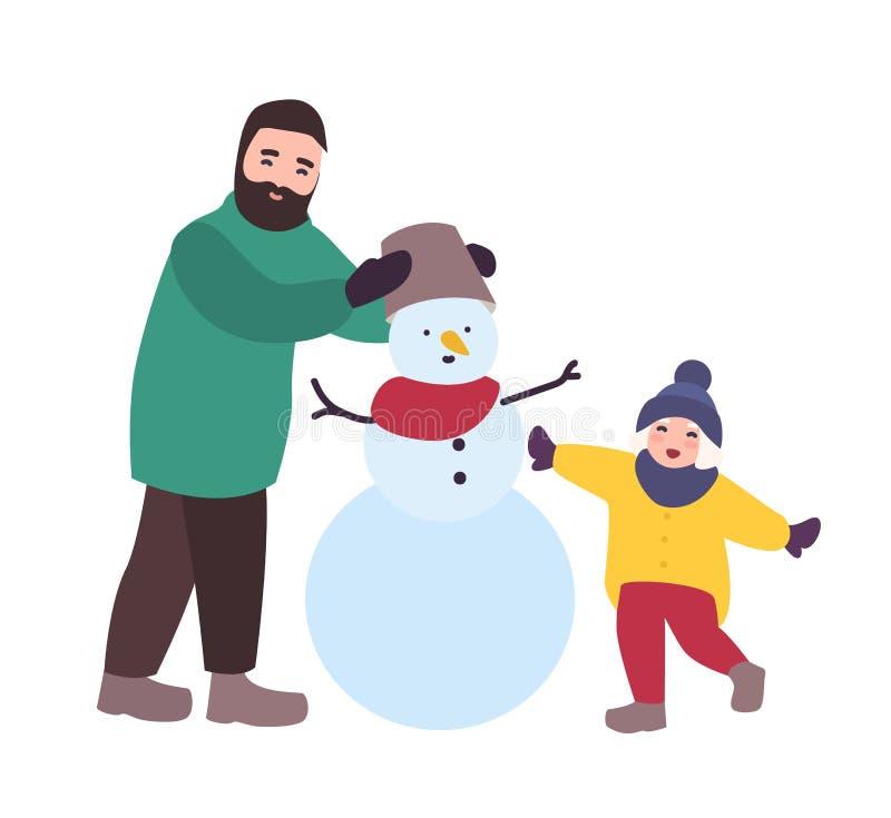 Muñeco de nieve feliz del edificio del padre y de la hija Padre y niño que se divierten junto Actividad de la familia del inviern stock de ilustración