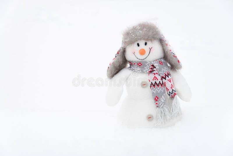 Muñeco de nieve feliz del invierno (espacio de la copia) foto de archivo libre de regalías