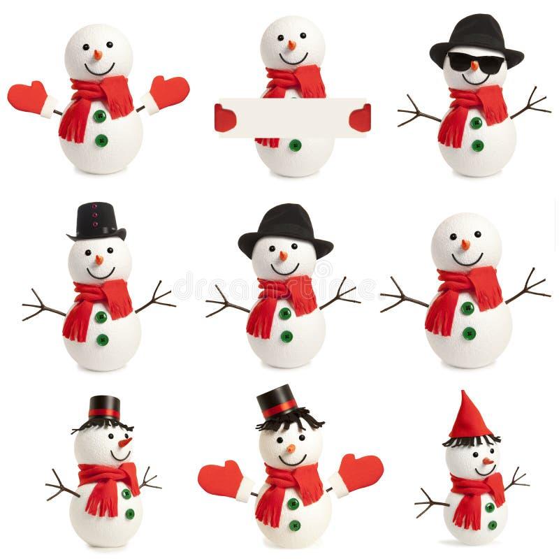 Muñeco de nieve feliz determinado aislado foto de archivo libre de regalías