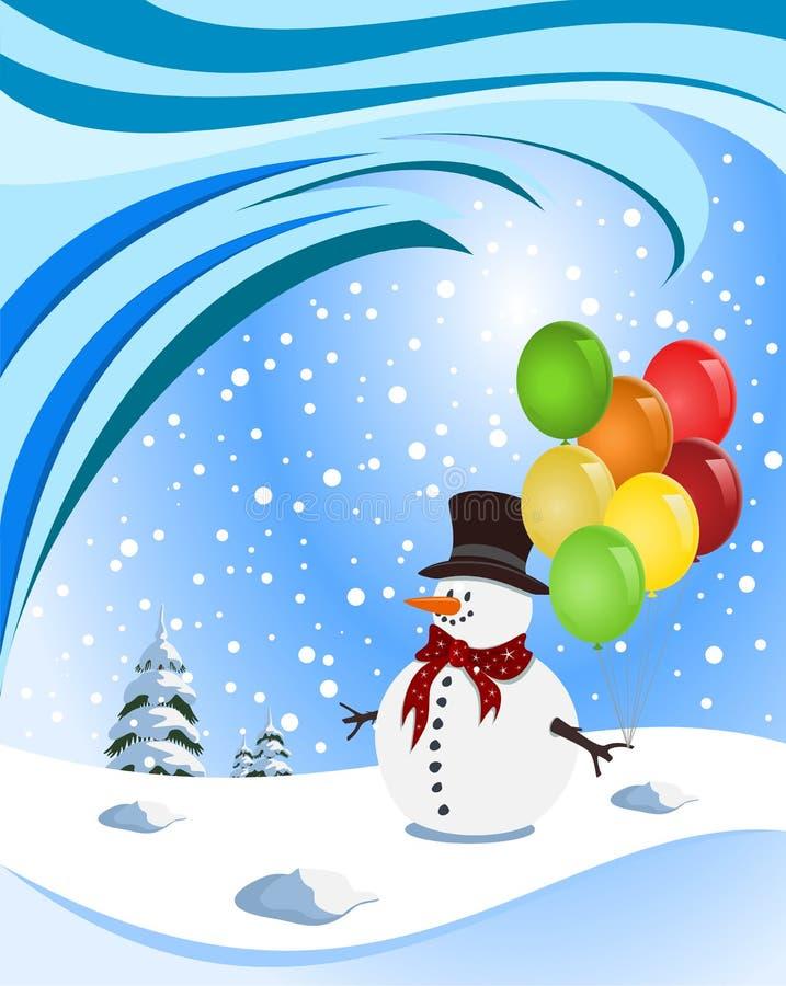 Muñeco de nieve feliz que sostiene los globos coloridos stock de ilustración