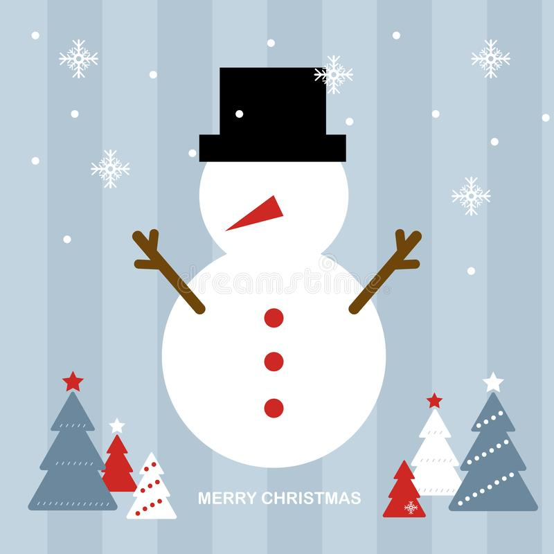 Muñeco de nieve fijado en escena azul clara de la Navidad ilustración del vector